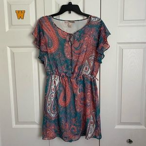 Cute paisley short dress blue pink white orange